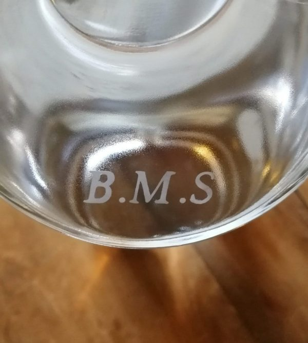 Kilty Gin etched bottle B.M.S initials